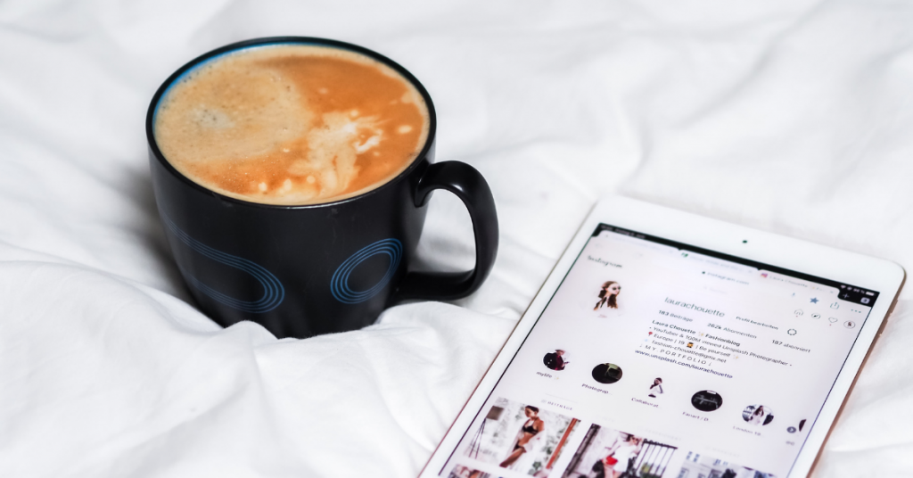 Coffee and Instagram content on iPad